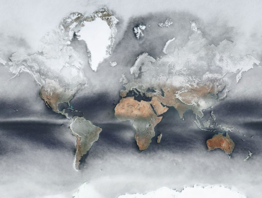 The average cloud cover across the world