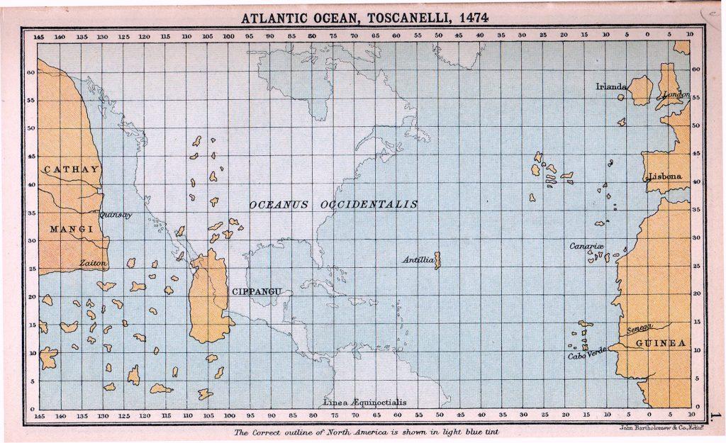 Map of Atlantic Ocean as imagined in 1474