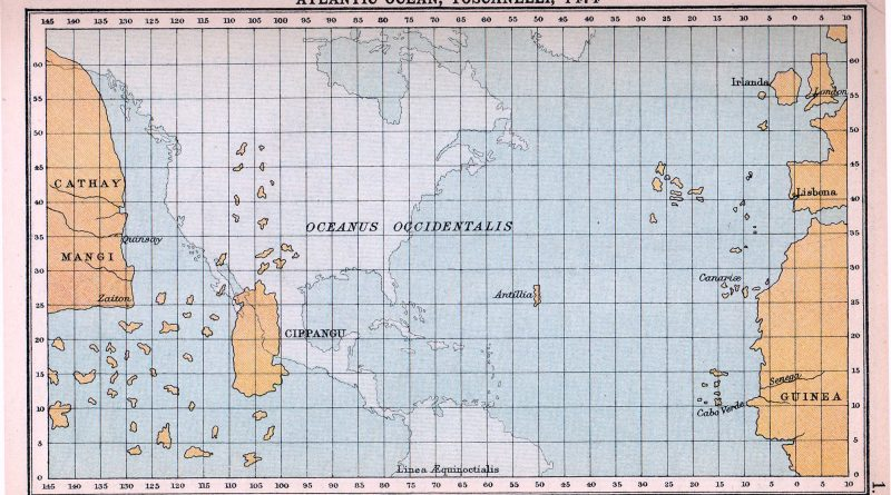 Map of Atlantic Ocean as imagined in 1974