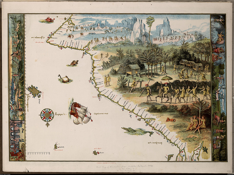 The first Map of Australia from Nicholas Vallard's Atlas (1547)