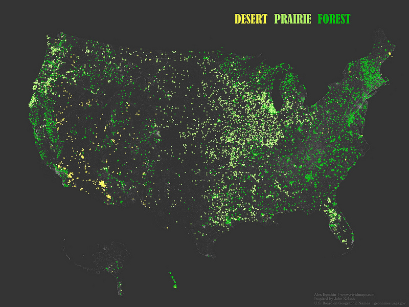 """The occurrence of place names that contain the words, """"Forest"""", """"Prairie"""", and """"Desert"""""""