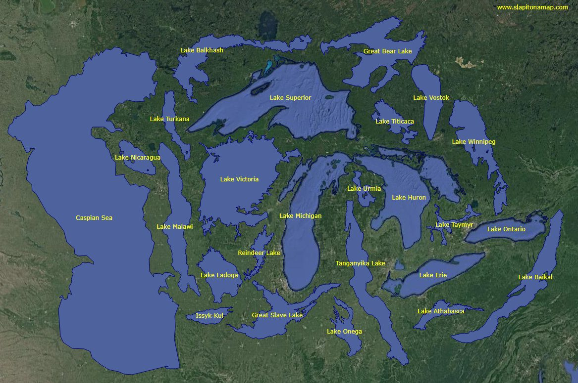 World's 25 Largest Lakes, by Area