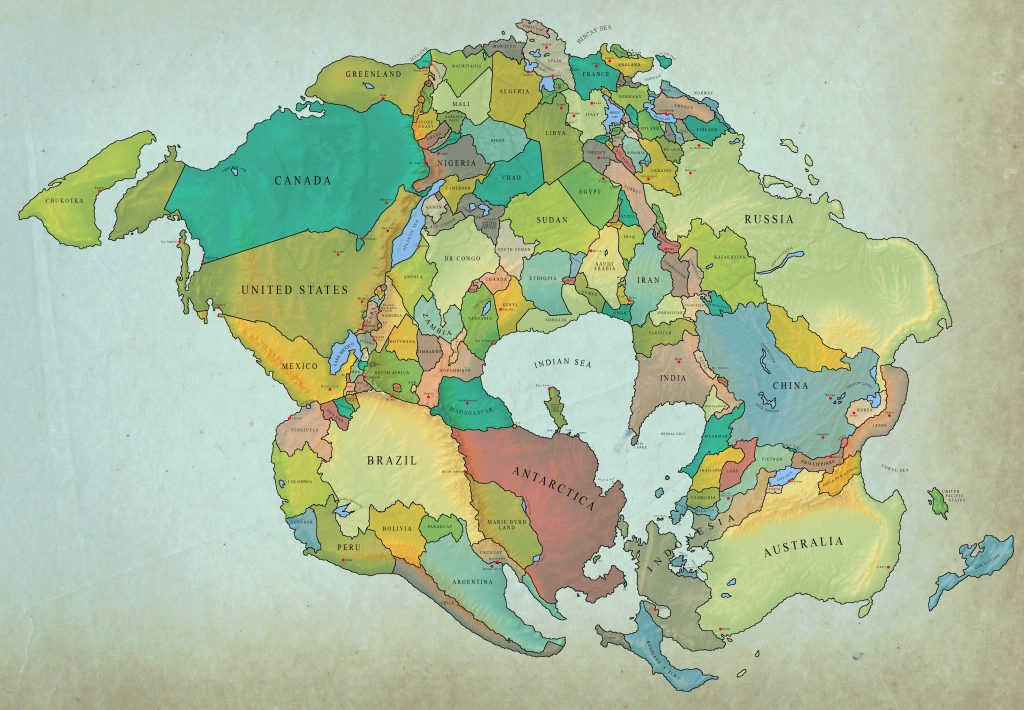 How Earth With Current International Borders Will look in 250 million years