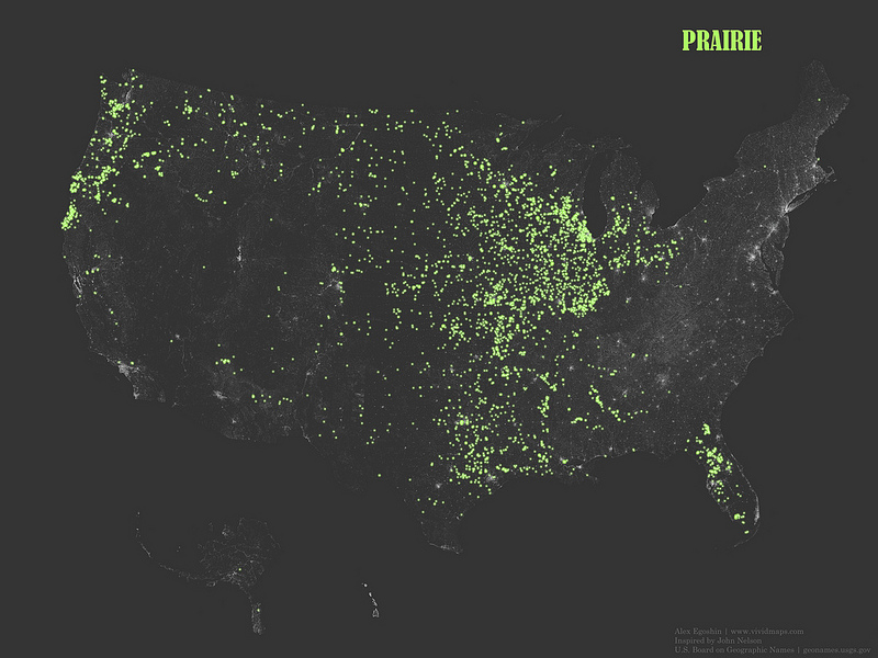 """The occurrence of place names that contain the word """"Prairie"""""""