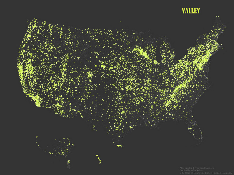 "The occurrence of place names that contain the word ""Valley"""