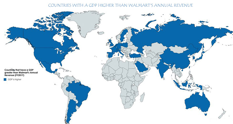 Countries with a GDP higher than Walmart's annual revenue ($482.13 billion)
