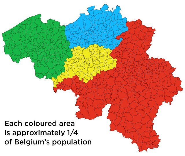 Belgium divided into 4 areas of equal population