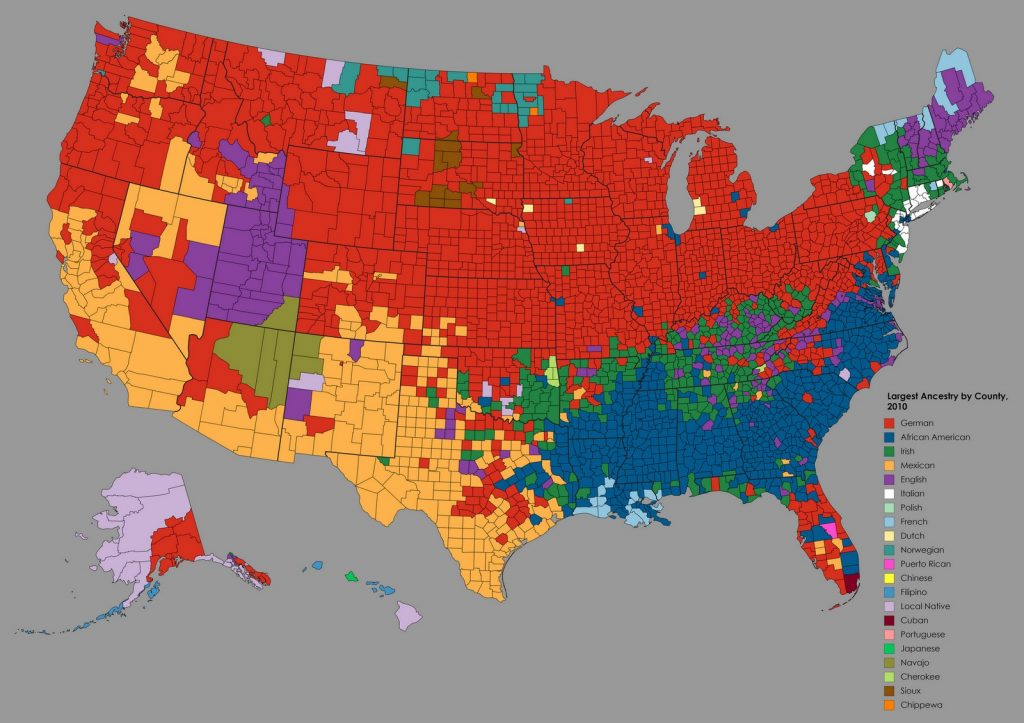 Map of Largest Ancestry by U.S. County