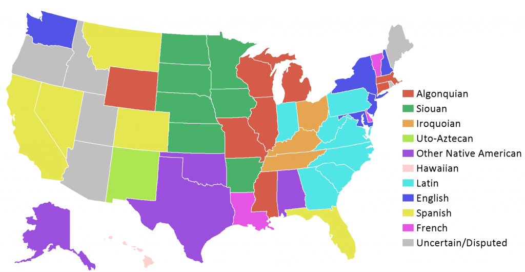 List of state and territory name etymologies of the U.S.