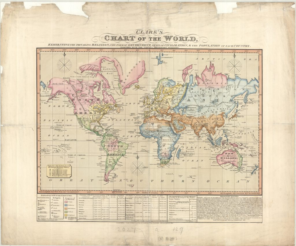 British map describing how civilized they meant the rest of the world was (1822)