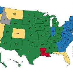 The U.S. colored by the linguistic source of each state's name