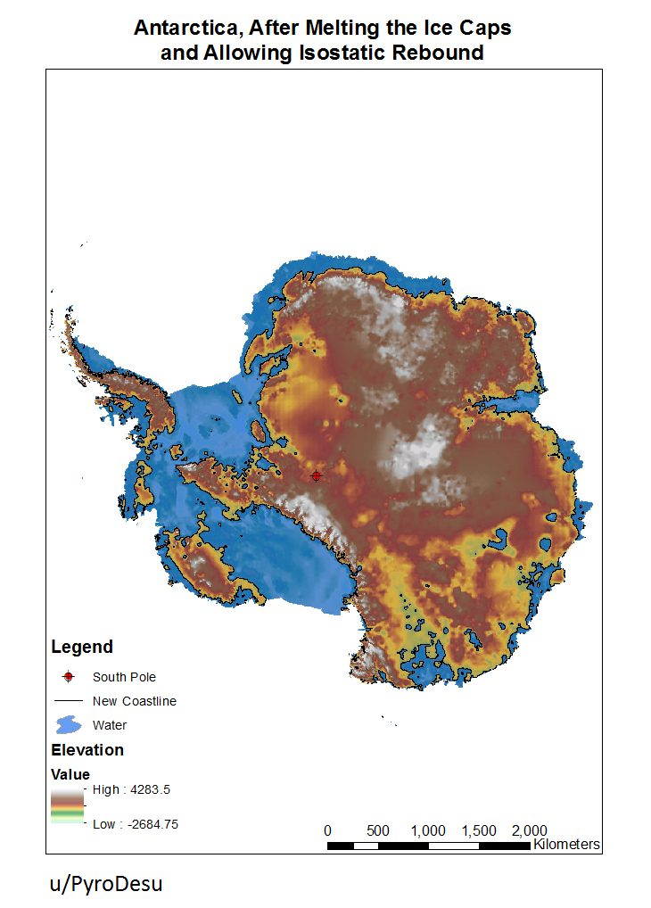 Antarctica, after melting the ice caps and allowing Isostatic Rebound