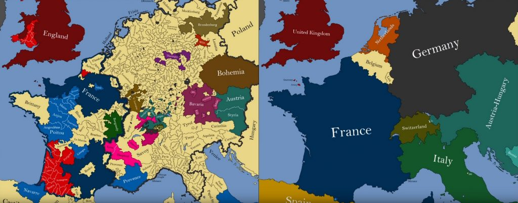 State borders of Europe in 1300 and 1900