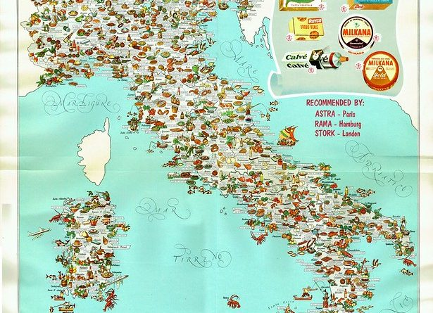 Gastronomic map of Italy, 1962