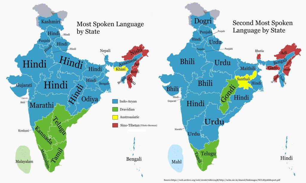 Most and Second Most Spoken Language in each Indian State