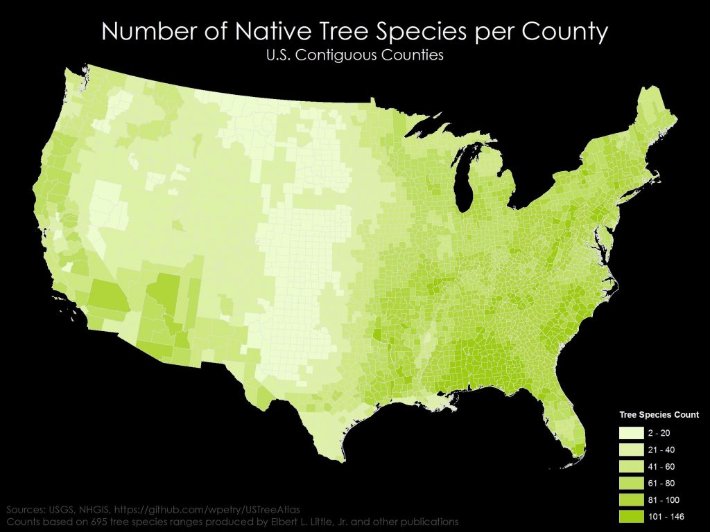 Number of native tree species per U.S. county