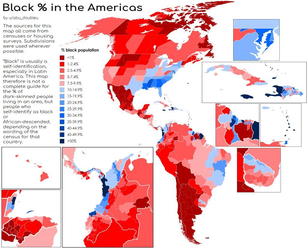 Percentage of blacks in America's