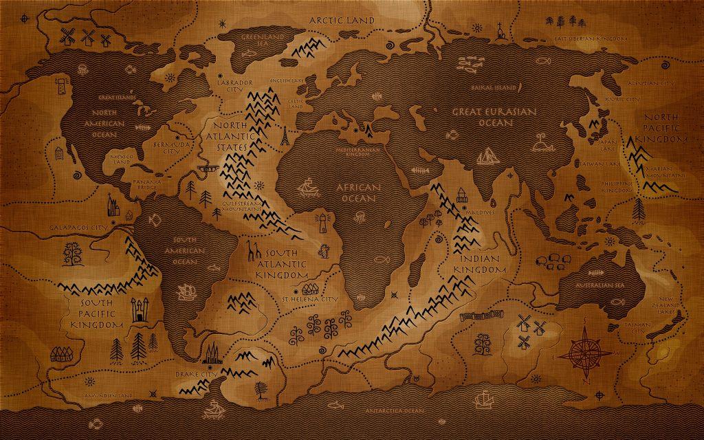 Inververted world map