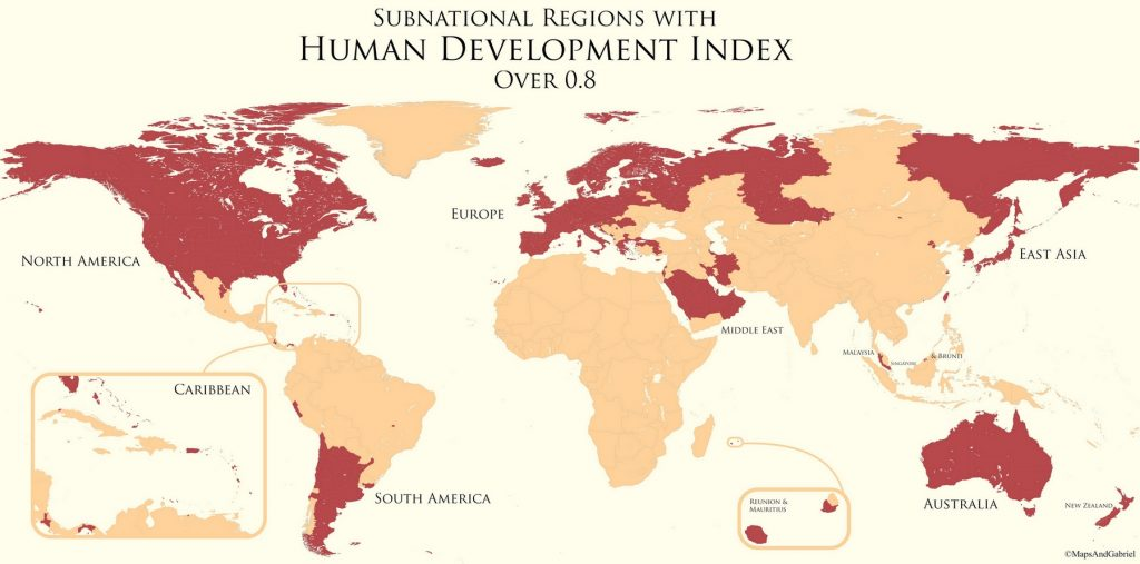 Subnational Divisions With Human Development Index over 0.8