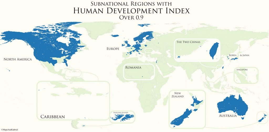 Subnational Divisions With Human Development Index over 0.9