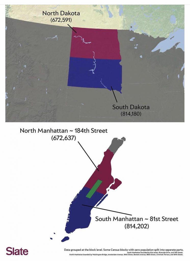 Comparing the population of the Manhattan and Dakotas
