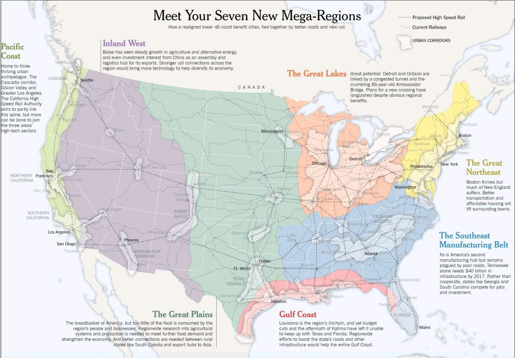 Map of the seven infrastructure mega-regions in the United States