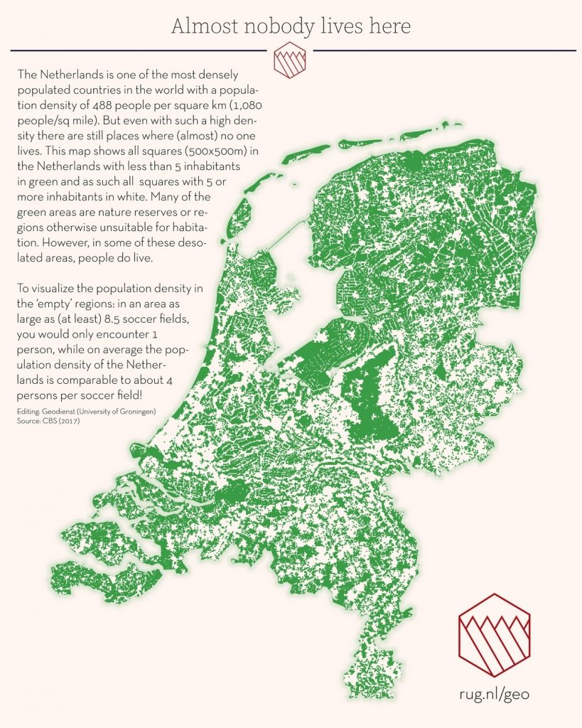 Netherlands: Almost nobody lives here.