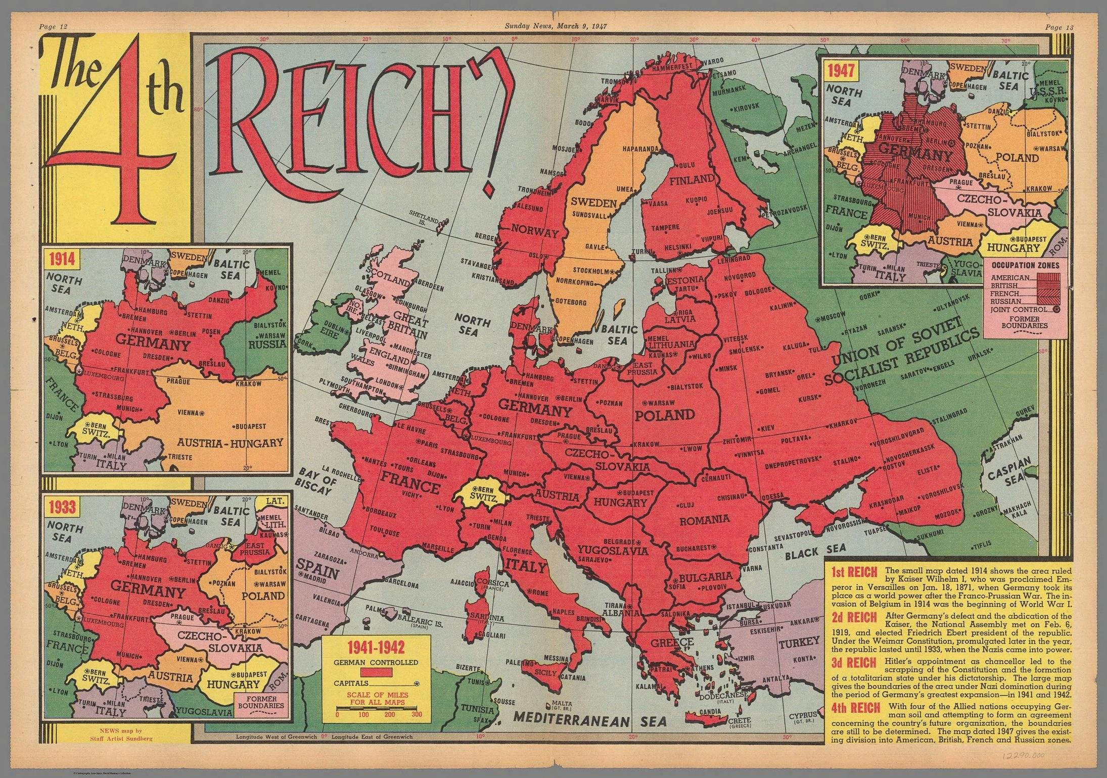 Map Of Germany In 1914.The 4th Reich 1947 Vivid Maps