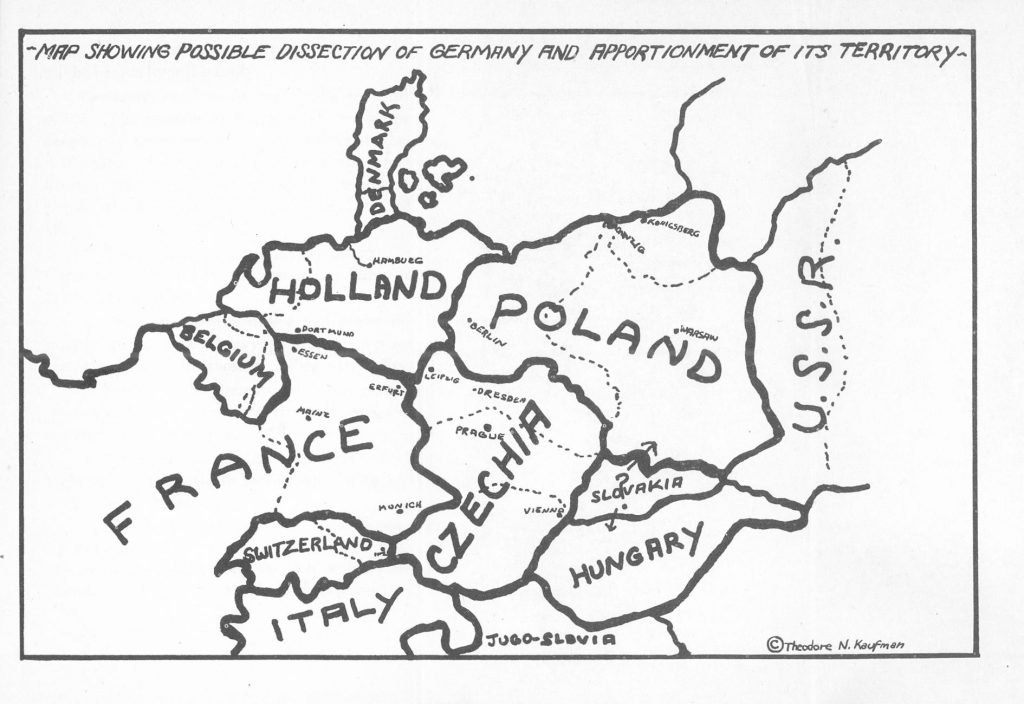 "Kaufman's proposed dismemberment of Germany from the book ""Germany Must Perish!"" (1941)"
