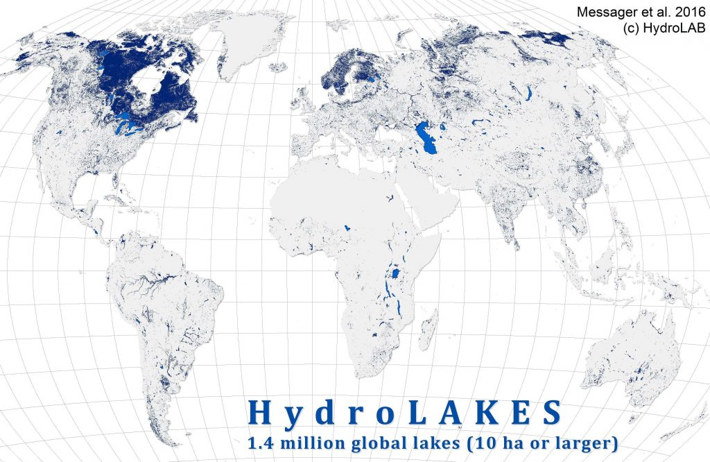 1.4 million global lakes (10 ha or larger)