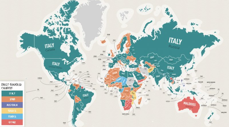 The most googlied countries Italy and Spain