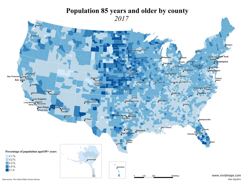 Population 85 years and older by U.S. county
