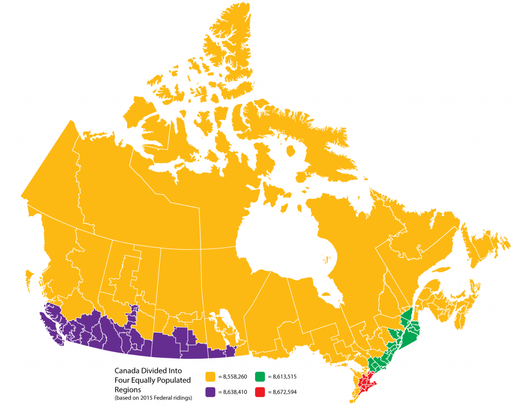 Canada divided into 4 regions of equal populations