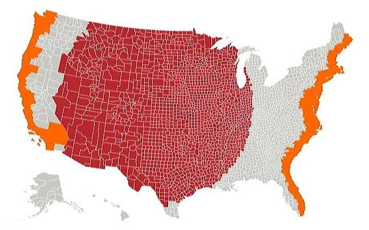Orange and Red Areas have Equal Populations