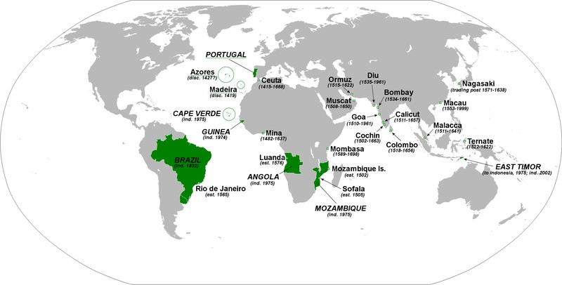Map of all territories of the Portuguese Empire (1419-1999)