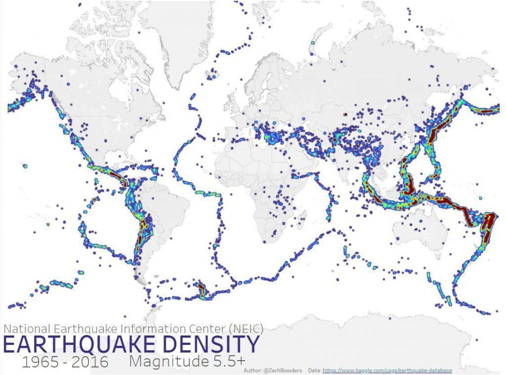 Earthquake Density (1965 - 2016)