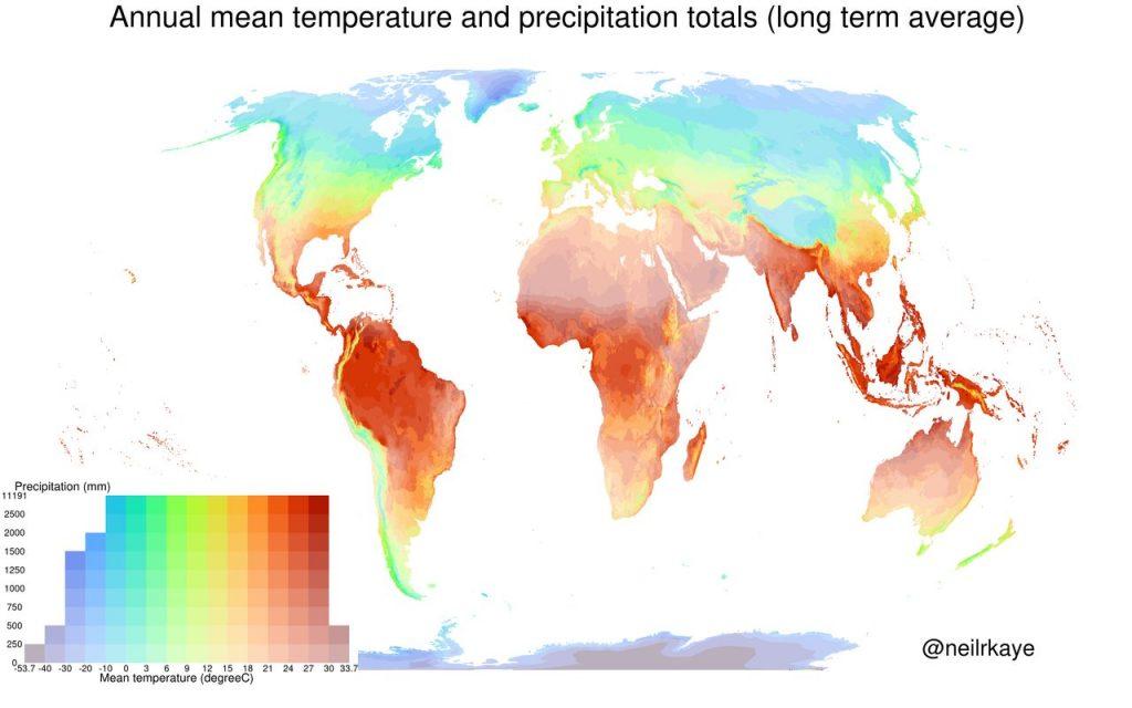 Annual mean temperature and total precipitation
