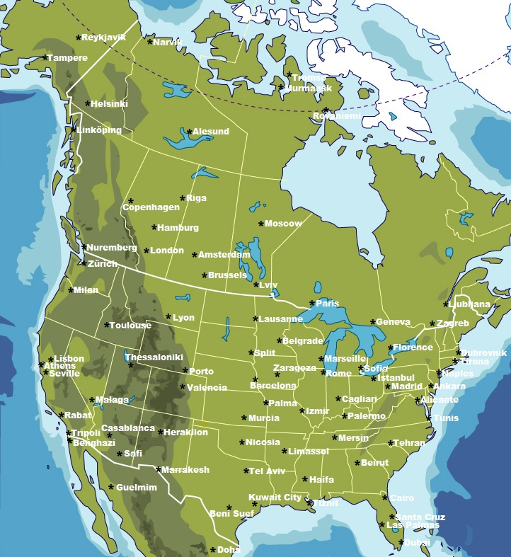Major cities in North America replaced by major cities across the Atlantic ocean by latitude