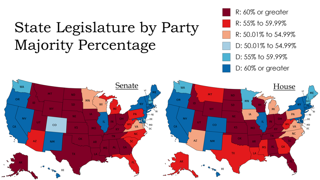 State Legislature by Party Majority Percentage