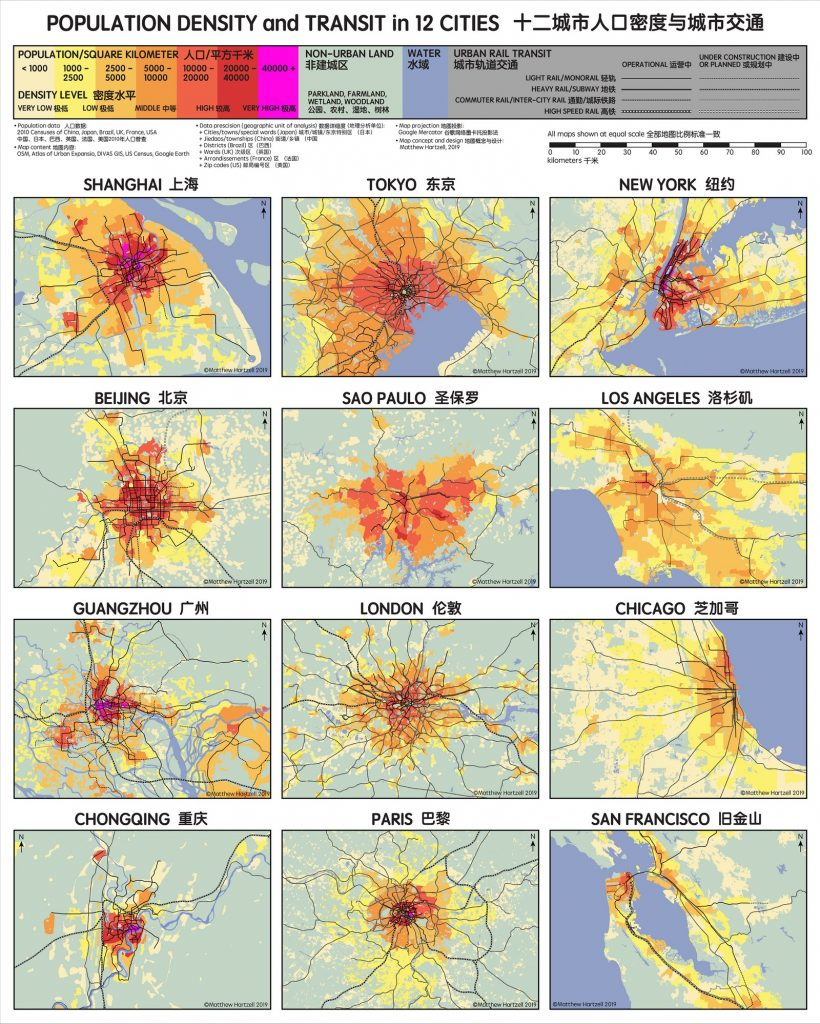 Population Density and Transit in 12 cites