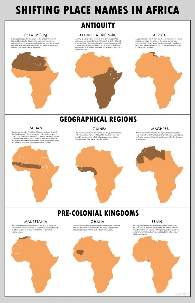 Shifting place names in Africa