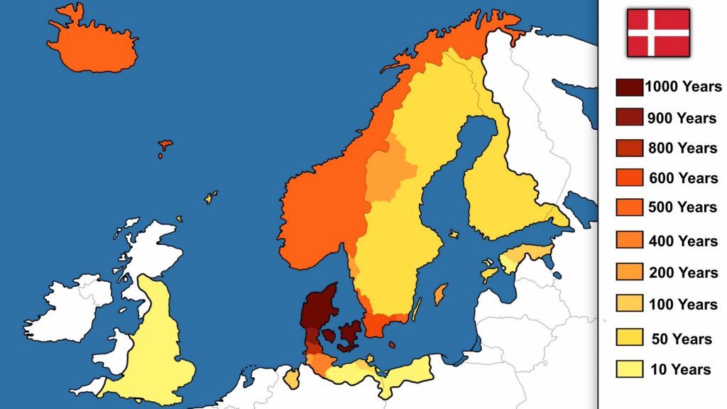 Map showing for how many years each territory was ruled by Denmark