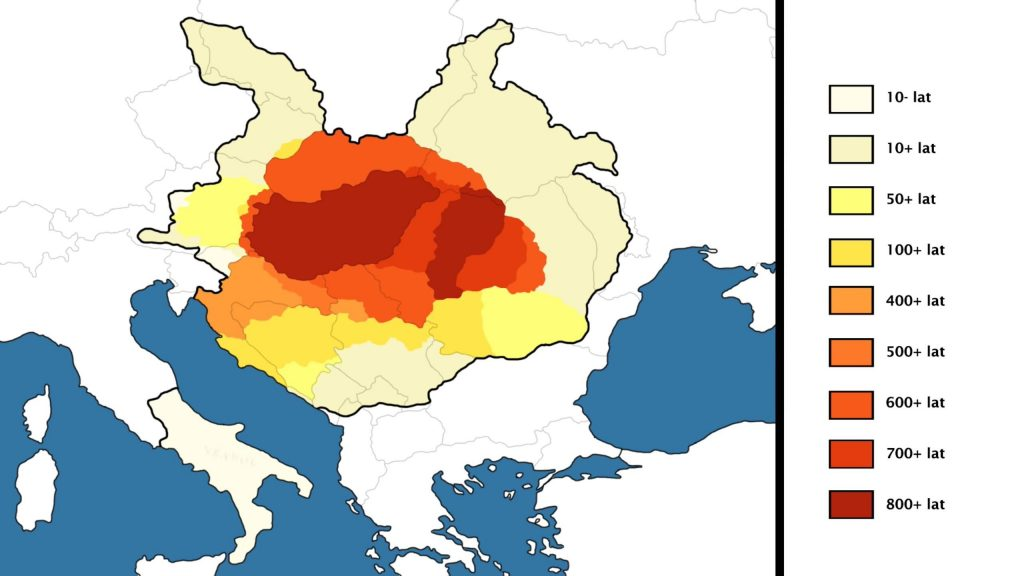 Map showing how many years each territory was ruled by Hungary