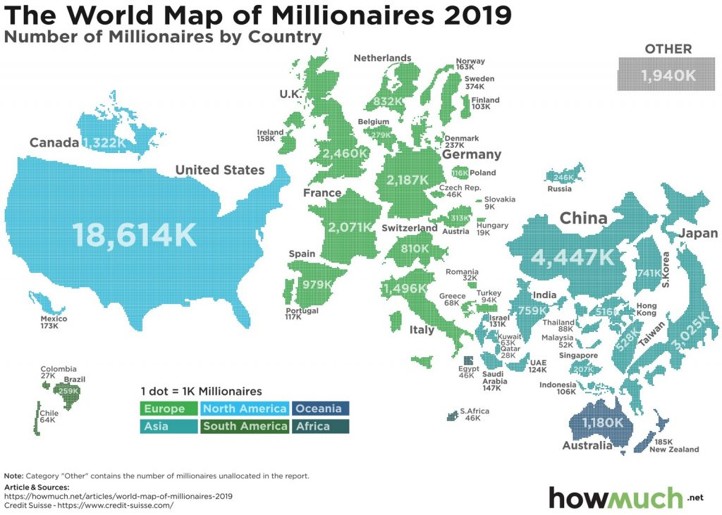 The World Map of Millionaires (Number of millionaires by country)