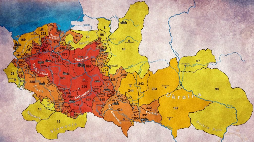 Map showing for how many years each territory was ruled by Poland