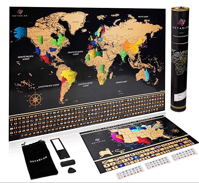 Deluxe Personalized Travel Map Poster with Bonus Scratch Off U.S. Map