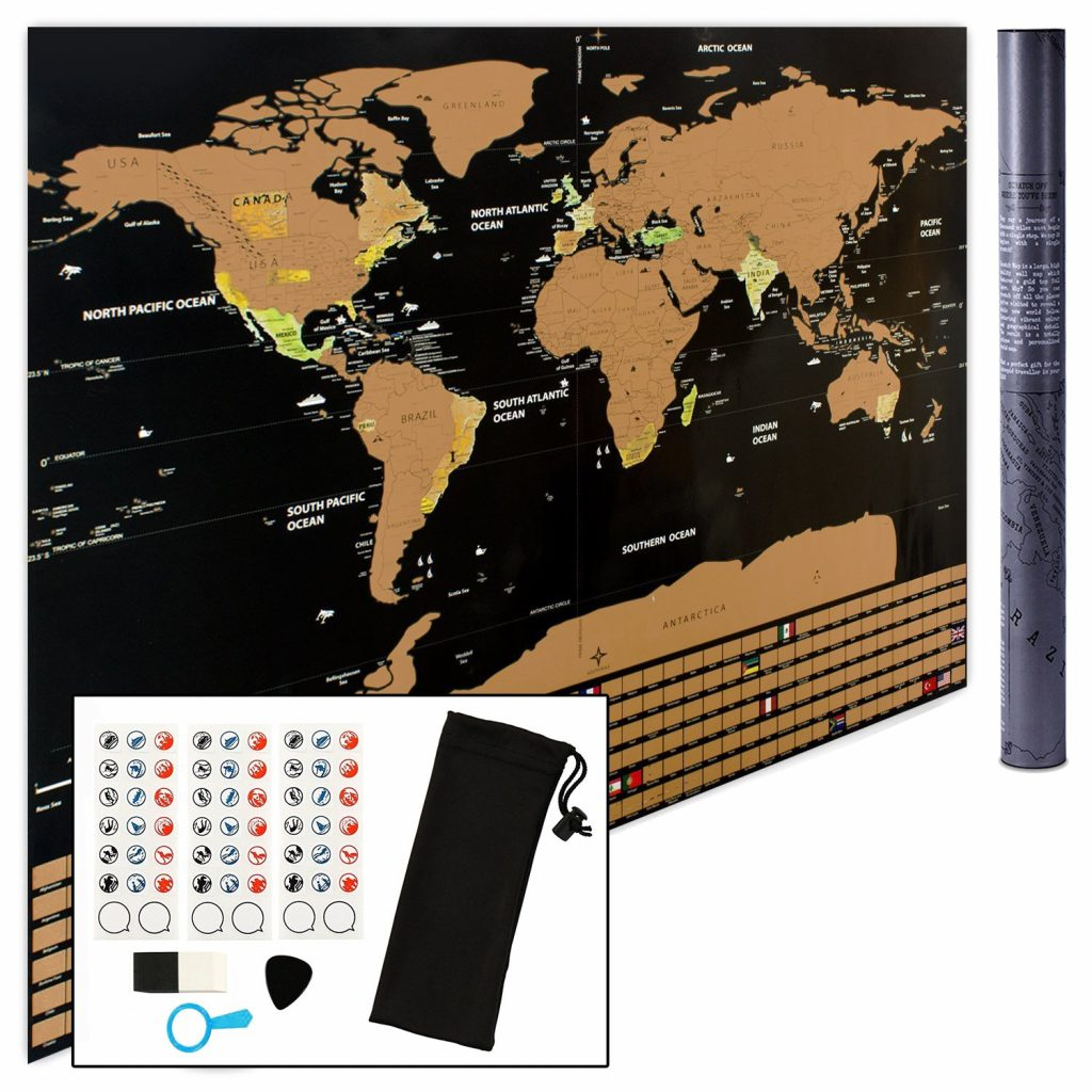Scratch Off World Map Wall Poster to Mark and Track Your Travel