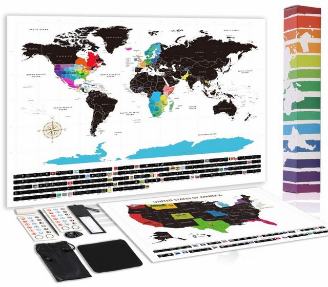World Map with Scratch Off U.S. Map Landmarks, includes Messaged Gift Box + Storage Pouch with Tool Sets
