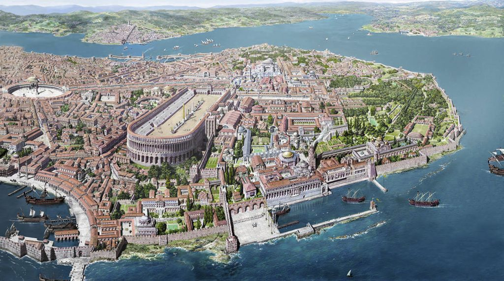 Bird's eye view of Byzantine Constantinople