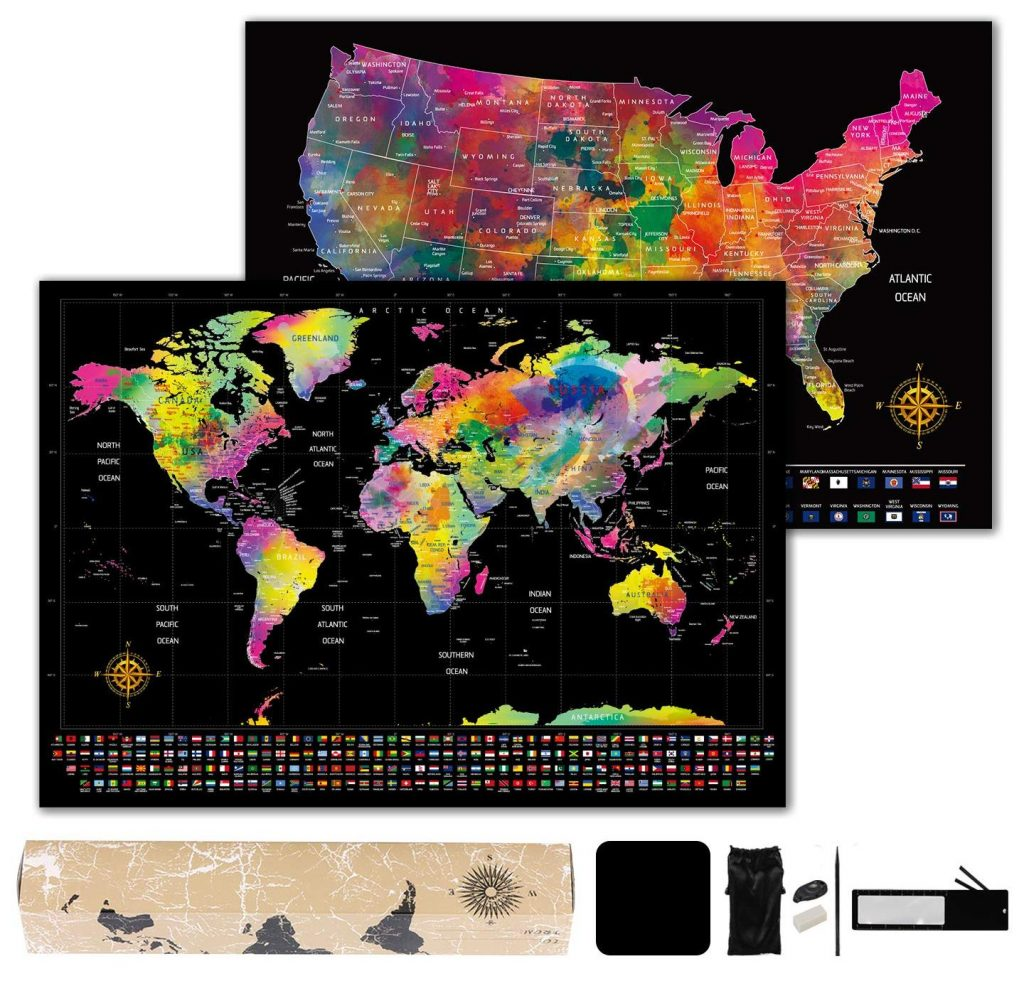 Scratch Off Map of The World and U.S. with Full Accessories Set